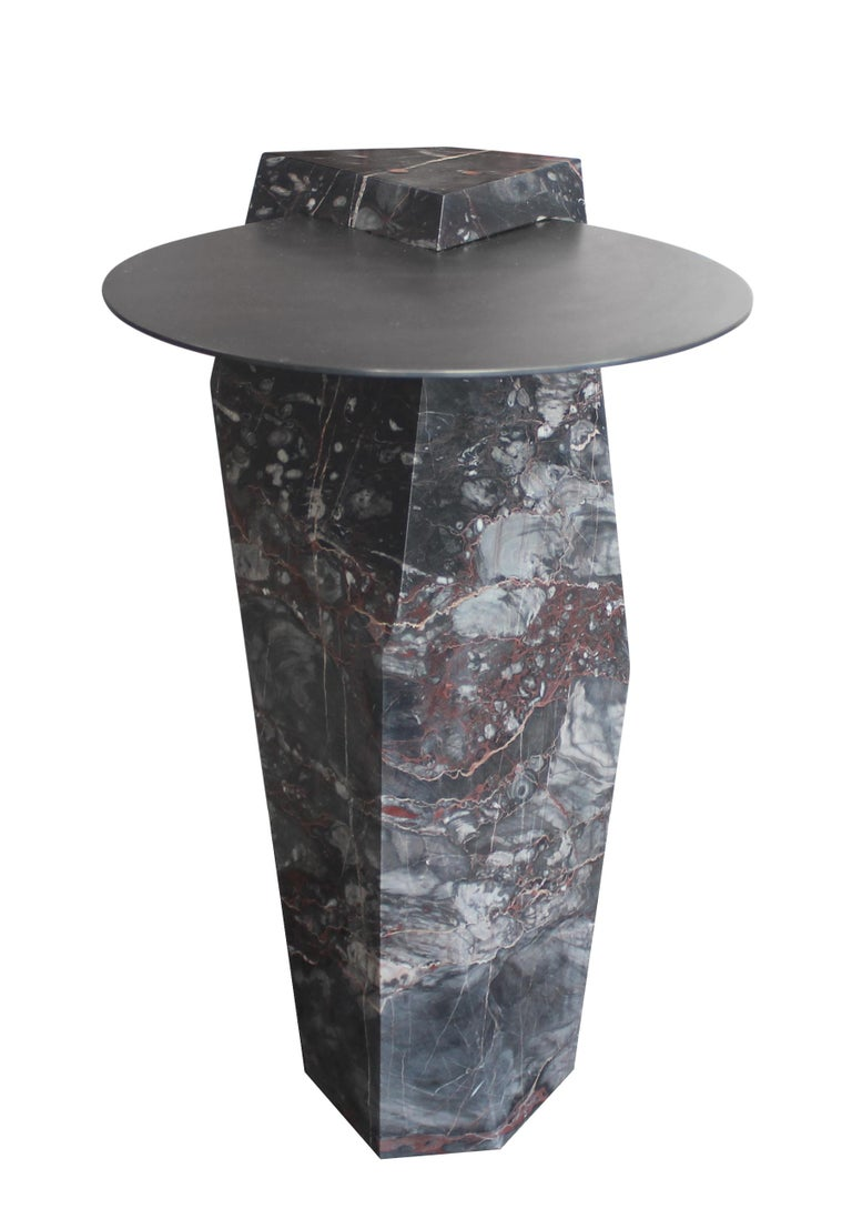 Modern Lapidary Sculpted Drinks Table in Solid Rosso Collemandina Marble For Sale