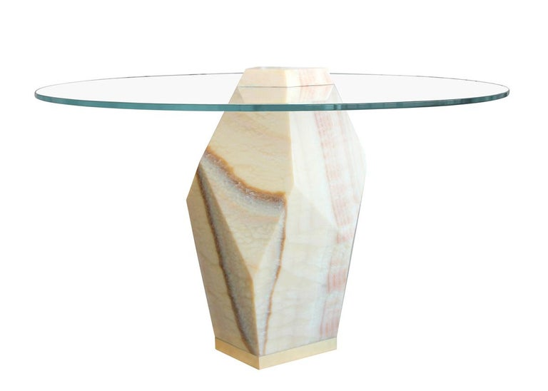 Modern Lapidary Solid Carved Onyx Dining Table For Sale