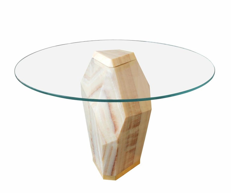 American Lapidary Solid Carved Onyx Dining Table For Sale