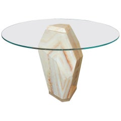 Lapidary Solid Carved Onyx Dining Table