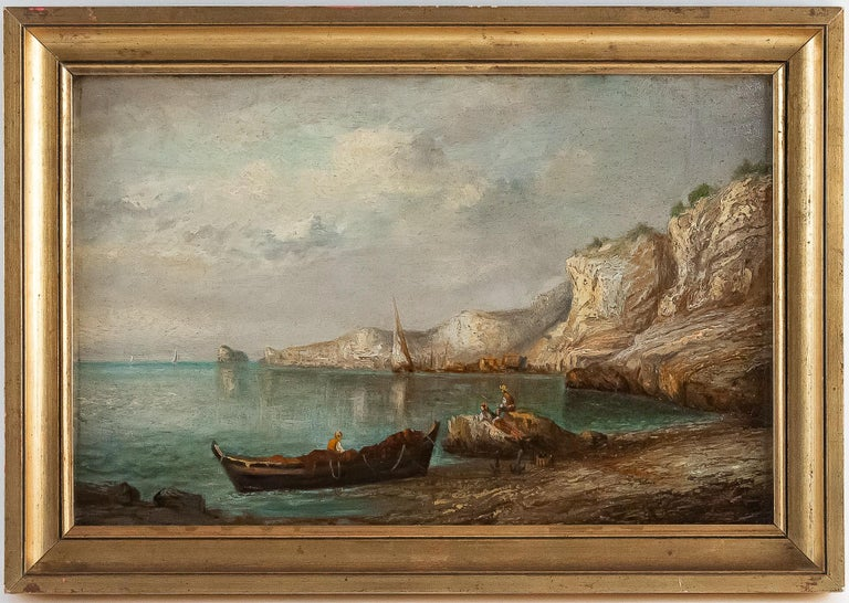 An excellent oil on panel depicting a French fishing scene of the 1850s.  Much quality on this small painting.  Our painting in fine original condition signed on a lower right.  Lapierre Emile, Oil on walnut panel French Marine Landscape, circa