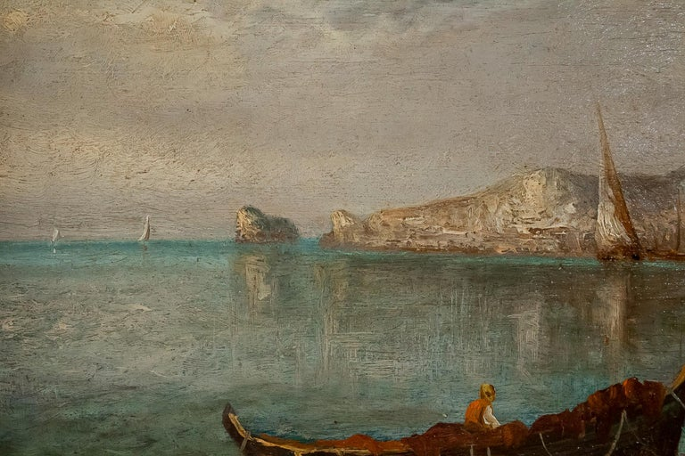 Lapierre Emile, Oil on Panel French Fishing Landscape, circa 1850 In Good Condition For Sale In Saint Ouen, FR