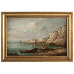 Lapierre Emile, Oil on Panel French Fishing Landscape, circa 1850