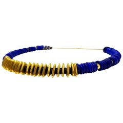 Lapis, 18 Karat, and 20 Karat Artisan Beaded Necklace