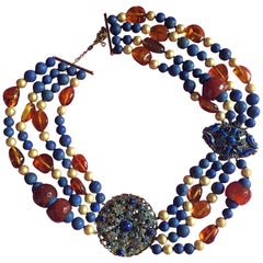 Lapis 18 Karat Gold Pearls Carnelian Amber Necklace