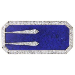 Platinum, Lapis and Diamond Art Deco Pin by Black Starr and Frost