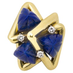 Lapis and Diamond Modernist Ring by La Triomphe