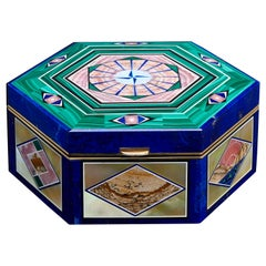 Lapis and Malachite Inlaid Gemstone Box 18 Karat Yellow Gold Fittings