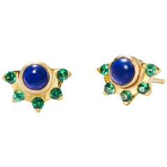 Lapis and Tsavorite Garnet Gold Stud Earrings