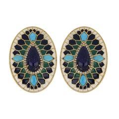 Lapis and Turquoise Studded Enamel Earrings in 14 Karat Gold