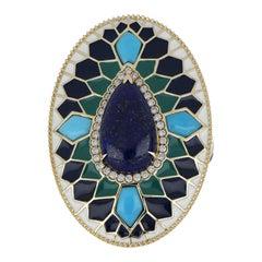 Lapis and Turquoise Studded Enamel Ring in 14 Karat Gold