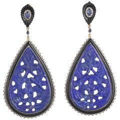 Lapis Blue Sapphire Black Onyx Diamond Earrings