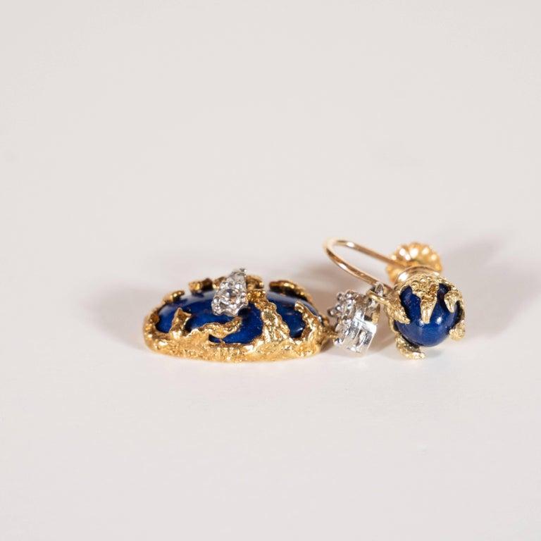 Modernist Lapis, Brilliant Cut Diamonds, 18kt Gold & Platinum Earrings by La Triomphe For Sale