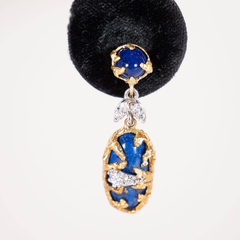 Lapis, Brilliant Cut Diamonds, 18kt Gold & Platinum Earrings by La Triomphe For Sale 1