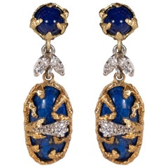 Lapis, Brilliant Cut Diamonds, 18kt Gold & Platinum Earrings by La Triomphe