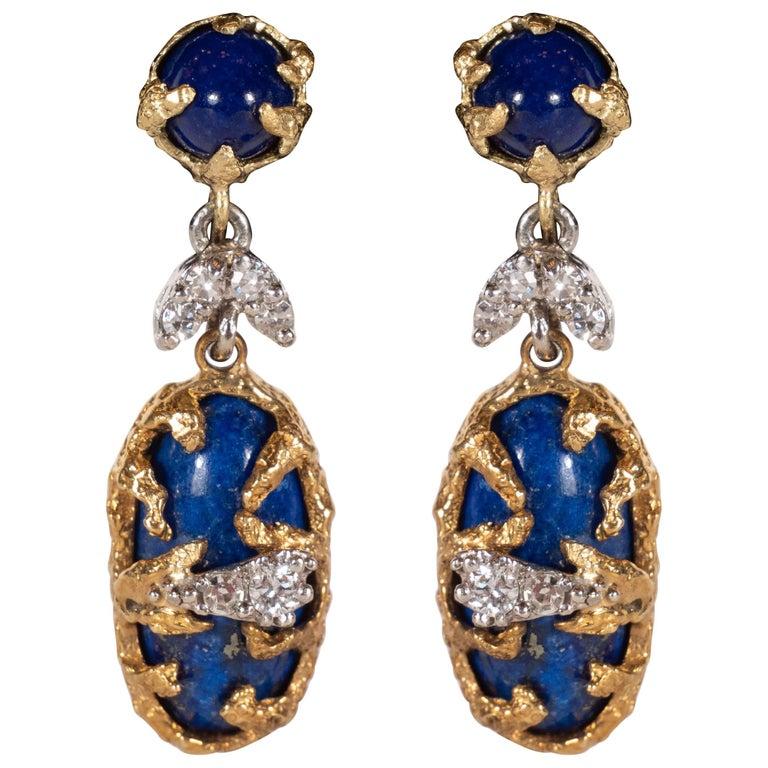 Lapis, Brilliant Cut Diamonds, 18kt Gold & Platinum Earrings by La Triomphe For Sale