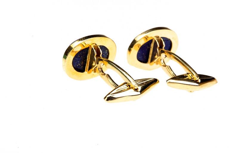Artisan Lapis Cabochon 18 k Gold Cufflinks For Sale