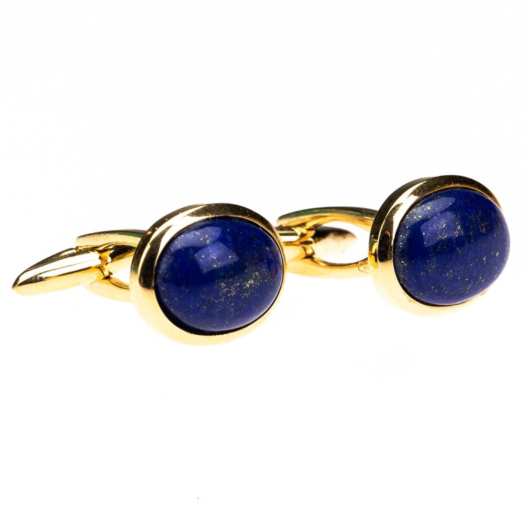 Lapis Cabochon 18 k Gold Cufflinks In New Condition For Sale In Milan, IT