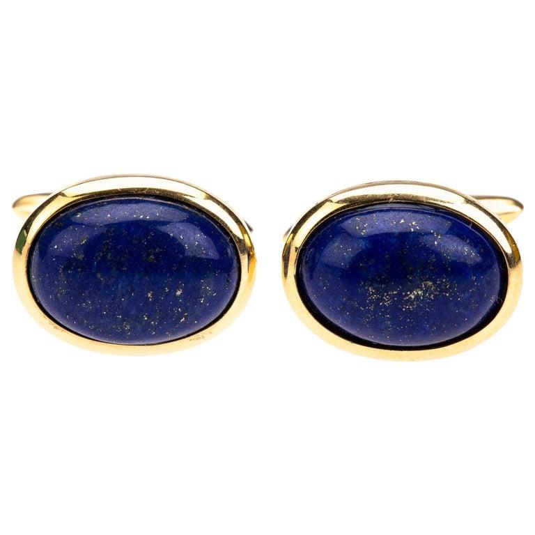 Lapis Cabochon 18 k Gold Cufflinks For Sale