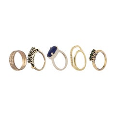 Lapis Cabochon Set of Rings in Mixed Antique Gold Plating from IOSSELLIANI