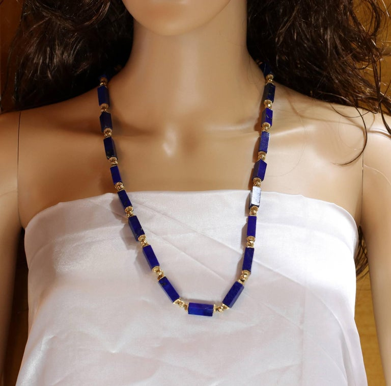 Lapis Columns with Gold Beads Necklace In Good Condition For Sale In Blue Ridge, GA