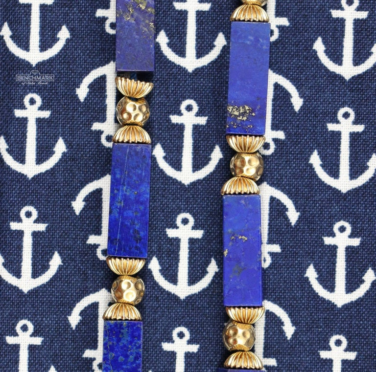 Women's or Men's Lapis Columns with Gold Beads Necklace For Sale