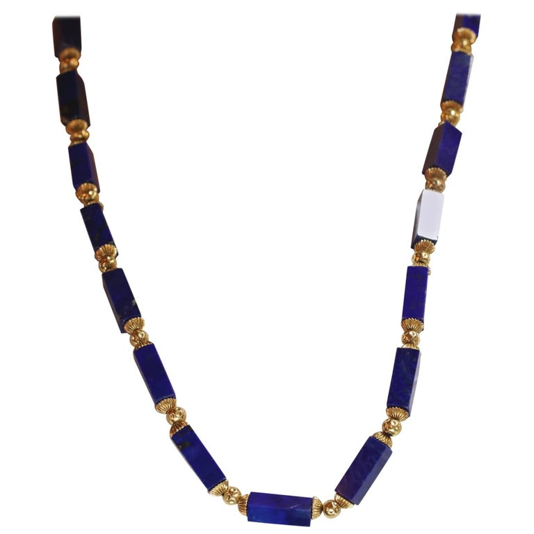 Lapis Columns with Gold Beads Necklace For Sale