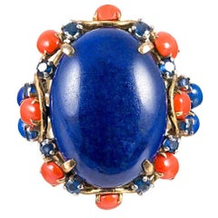 Lapis, Coral and Blue Sapphire Dome Ring