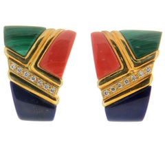 Lapis, Coral, Malachite 18 Karat Yellow Gold Diamonds Stud Earrings