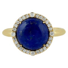 Lapis Diamond 18 Karat Gold Ring