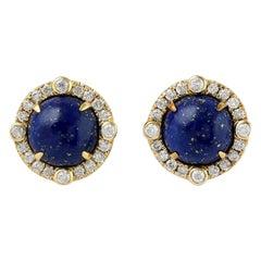 Lapis Diamond 18 Karat Gold Stud Earrings