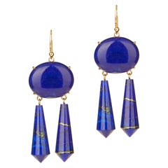 Lapis Earrings 18 Karat Pink Gold
