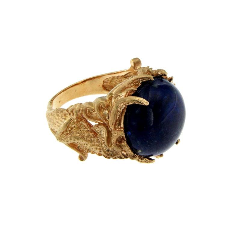 Cabochon Lapis Gold Sculptural Dragon Gold Unisex Ring For Sale