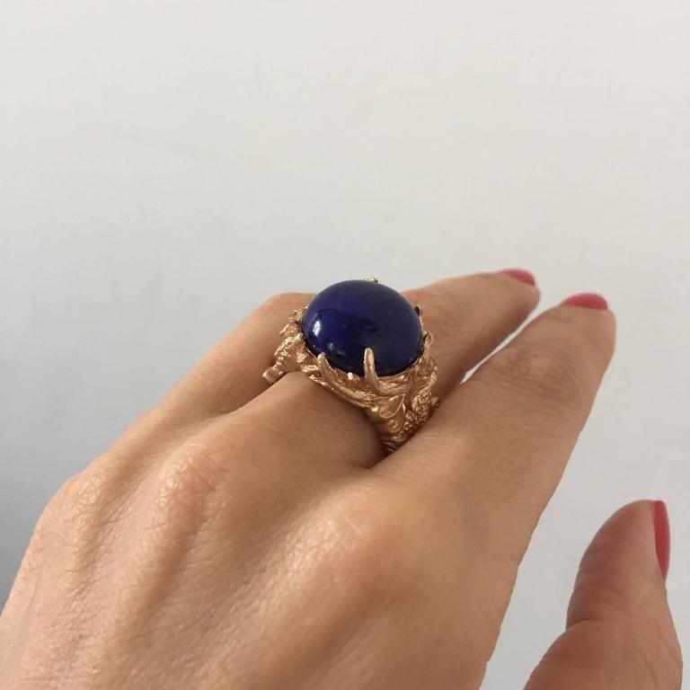 Lapis Gold Sculptural Dragon Gold Unisex Ring For Sale 2