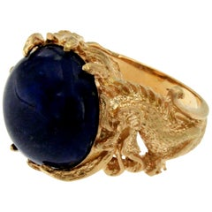 Lapis Gold Sculptural Dragon Gold Unisex Ring