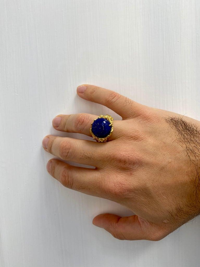 Lapis Gold Sculptural Dragon Gold Unisex Ring For Sale 5