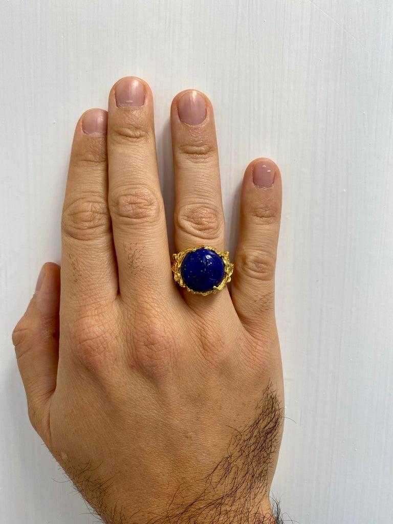 Lapis Gold Sculptural Dragon Gold Unisex Ring For Sale 3
