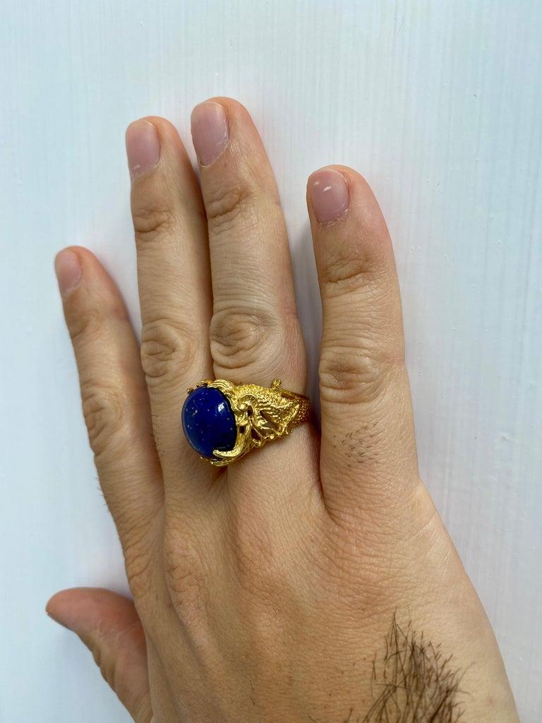 Lapis Gold Sculptural Dragon Gold Unisex Ring For Sale 4