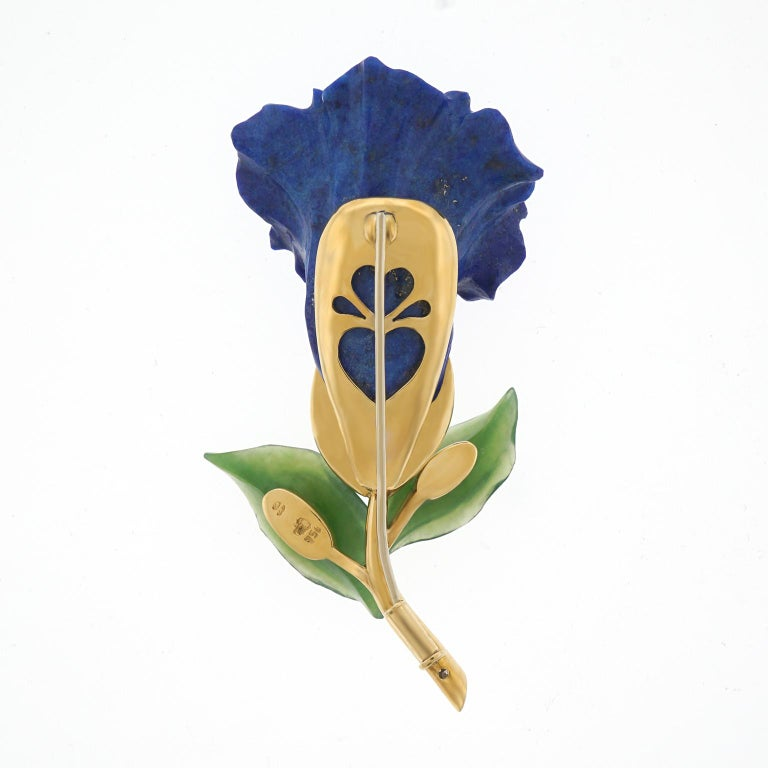 Lapis Jade and Diamond Alpine Gentiana Brooch For Sale 4