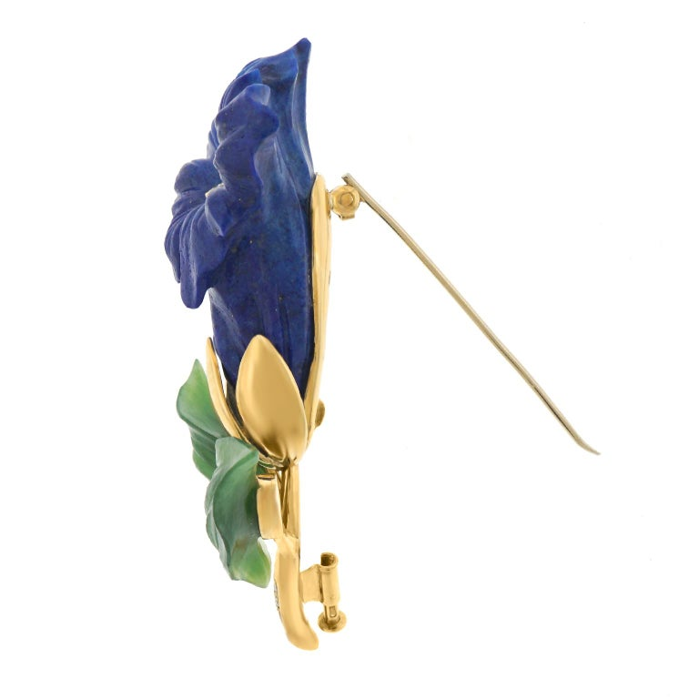 Lapis Jade and Diamond Alpine Gentiana Brooch For Sale 5