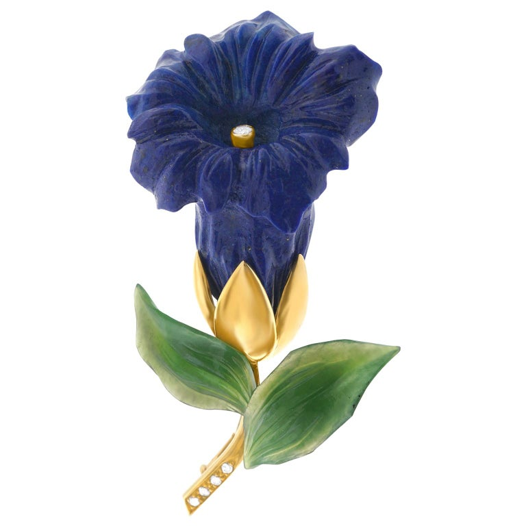 Lapis Jade and Diamond Alpine Gentiana Brooch For Sale