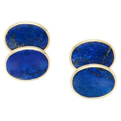 Lapis Lazuli Gold Oval Cufflinks Set In 18 Karat Yellow Gold
