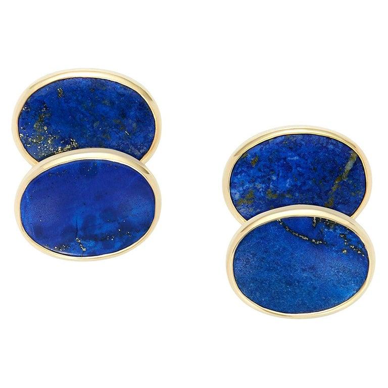 Minka, Lapis Lazuli Gold Oval Cufflinks For Sale