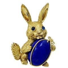Lapis Lazuli & Sapphire Bunny Rabit 18 Karat Yellow Gold Brooch Pin