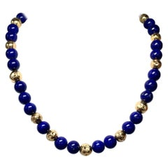 Lapis Lazuli 14 Karat Gold Bead Necklace Beads