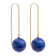 Lapis-Lazuli 18 Carat Yellow Gold Drop Earrings