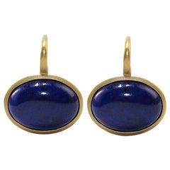 Lapis Lazuli 18 Karat Satin Yellow Gold Earrings