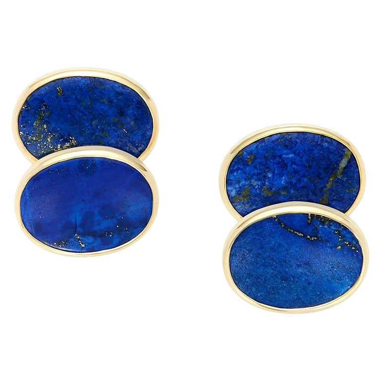 Lapis Lazuli 18 Karat Yellow Gold Oval Cufflinks For Sale