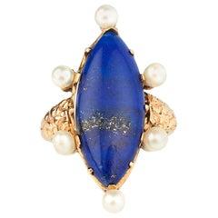 Lapis Lazuli 1970s Dress Ring