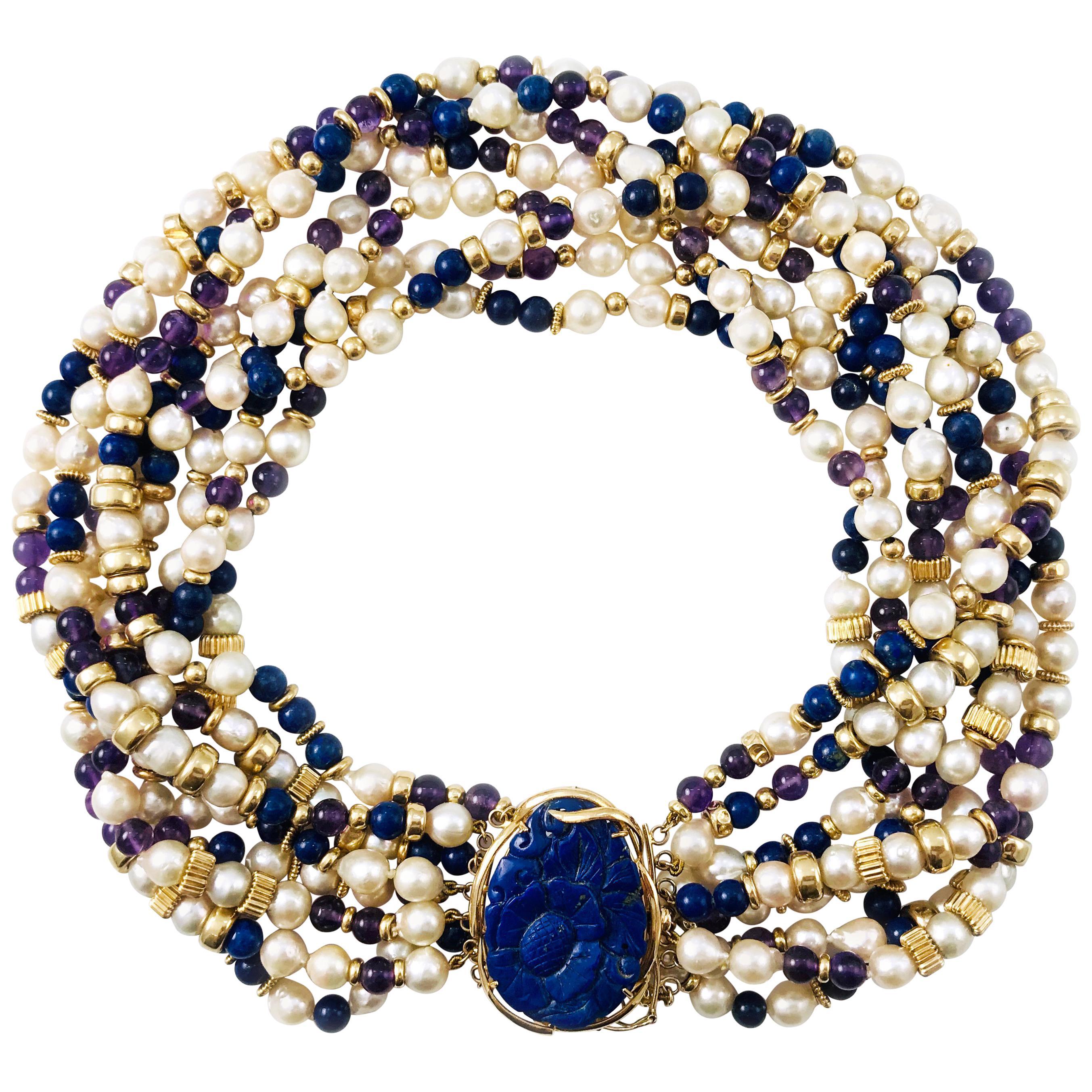 Lapis Lazuli Amethyst Pearl Choker Necklace